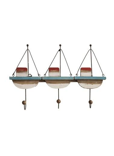 Warm Design Ahşap & Metal Tekneler Duvar Dekoru - 3 Kanca Renkli